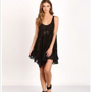 Free People she swings slip black combo mini dress